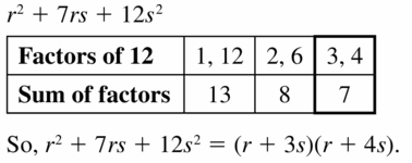 Big Ideas Math Algebra 1 Answers Chapter 7 Polynomial Equations and Factoring 7.5 Question 49