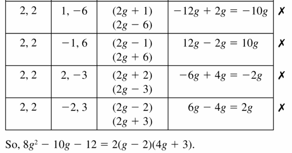 Big Ideas Math Algebra 1 Answers Chapter 7 Polynomial Equations and Factoring 7.6 Question 15.3