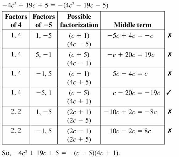 Big Ideas Math Algebra 1 Answers Chapter 7 Polynomial Equations and Factoring 7.6 Question 19