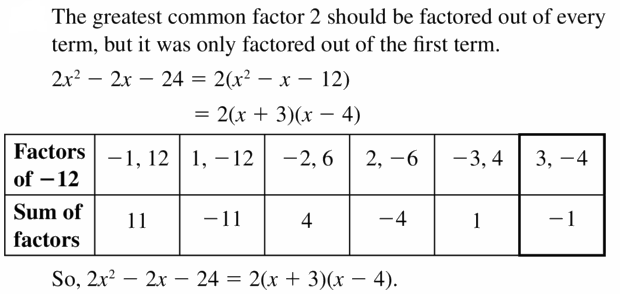 Big Ideas Math Algebra 1 Answers Chapter 7 Polynomial Equations and Factoring 7.6 Question 23