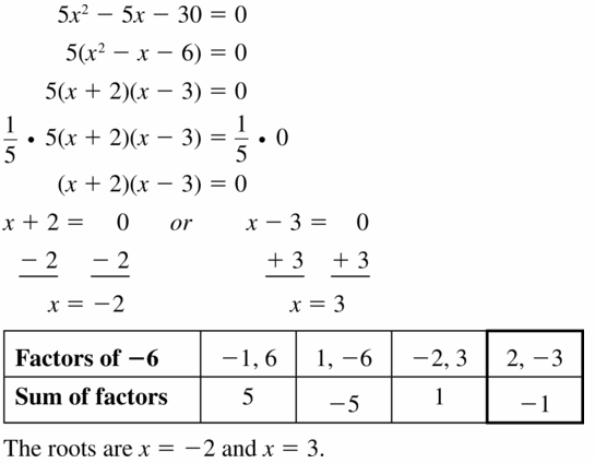 Big Ideas Math Algebra 1 Answers Chapter 7 Polynomial Equations and Factoring 7.6 Question 25