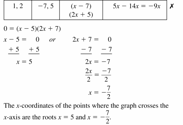 Big Ideas Math Algebra 1 Answers Chapter 7 Polynomial Equations and Factoring 7.6 Question 29.2
