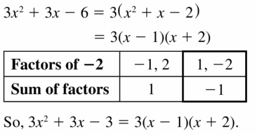 Big Ideas Math Algebra 1 Answers Chapter 7 Polynomial Equations and Factoring 7.6 Question 3
