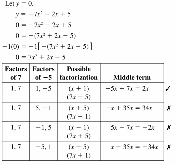 Big Ideas Math Algebra 1 Answers Chapter 7 Polynomial Equations and Factoring 7.6 Question 31.1