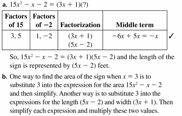 Big Ideas Math Algebra 1 Answers Chapter 7 Polynomial Equations and Factoring 7.6 Question 33