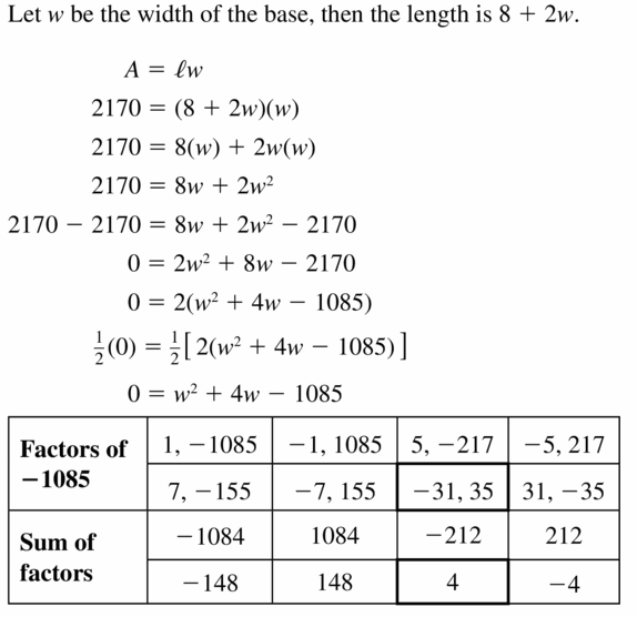 Big Ideas Math Algebra 1 Answers Chapter 7 Polynomial Equations and Factoring 7.6 Question 35.1