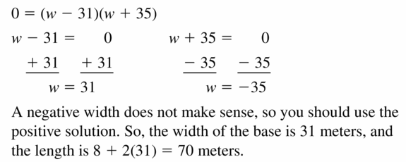 Big Ideas Math Algebra 1 Answers Chapter 7 Polynomial Equations and Factoring 7.6 Question 35.2