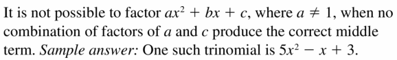 Big Ideas Math Algebra 1 Answers Chapter 7 Polynomial Equations and Factoring 7.6 Question 39