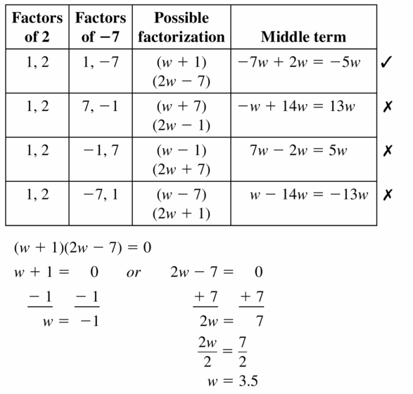 Big Ideas Math Algebra 1 Answers Chapter 7 Polynomial Equations and Factoring 7.6 Question 43.2