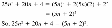 Big Ideas Math Algebra 1 Answers Chapter 7 Polynomial Equations and Factoring 7.7 Question 21