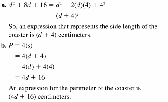 Big Ideas Math Algebra 1 Answers Chapter 7 Polynomial Equations and Factoring 7.7 Question 25
