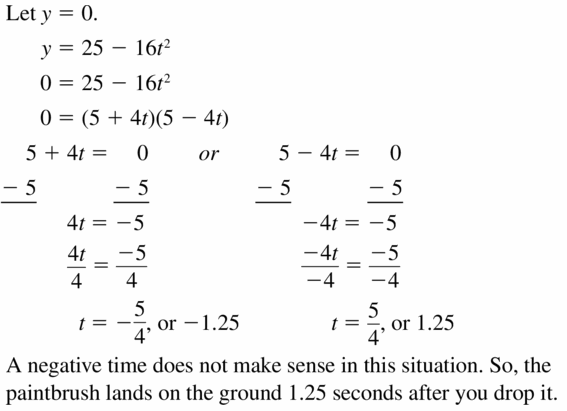 Big Ideas Math Algebra 1 Answers Chapter 7 Polynomial Equations and Factoring 7.7 Question 41