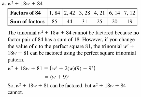 Big Ideas Math Algebra 1 Answers Chapter 7 Polynomial Equations and Factoring 7.7 Question 43.1