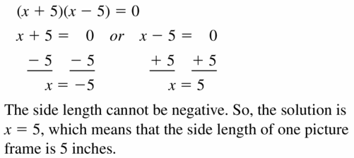 Big Ideas Math Algebra 1 Answers Chapter 7 Polynomial Equations and Factoring 7.7 Question 47.2