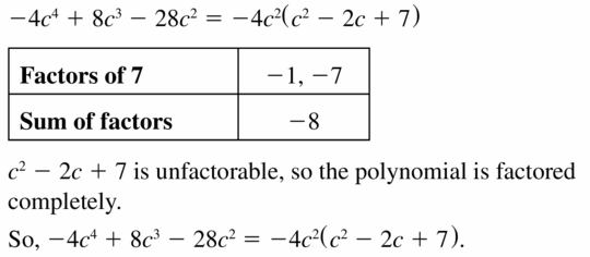 Big Ideas Math Algebra 1 Answers Chapter 7 Polynomial Equations and Factoring 7.8 Question 19