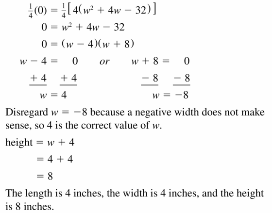 Big Ideas Math Algebra 1 Answers Chapter 7 Polynomial Equations and Factoring 7.8 Question 35.2