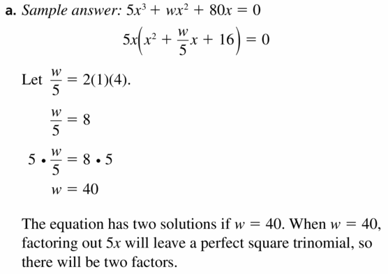 Big Ideas Math Algebra 1 Answers Chapter 7 Polynomial Equations and Factoring 7.8 Question 49.1