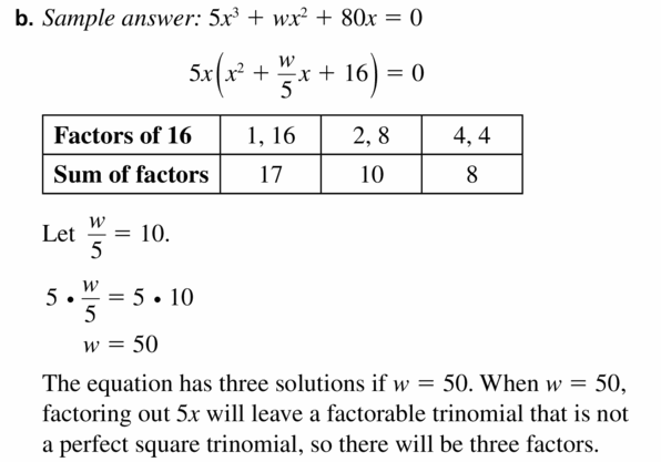 Big Ideas Math Algebra 1 Answers Chapter 7 Polynomial Equations and Factoring 7.8 Question 49.2
