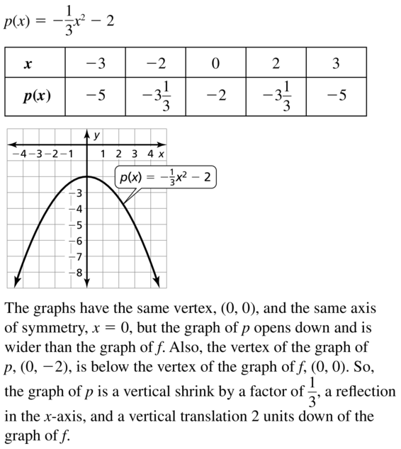Big Ideas Math Algebra 1 Answers Chapter 8 Graphing Quadratic Functions 8.2 a 11