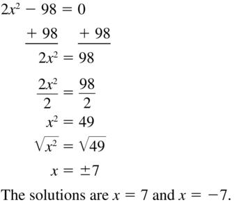 Big Ideas Math Algebra 1 Solutions Chapter 9 Solving Quadratic Equations 9.3 a 13