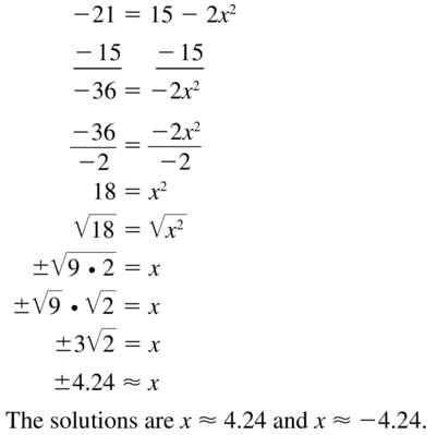 Big Ideas Math Algebra 1 Solutions Chapter 9 Solving Quadratic Equations 9.3 a 29