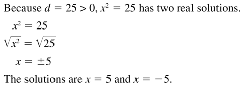 Big Ideas Math Algebra 1 Solutions Chapter 9 Solving Quadratic Equations 9.3 a 3