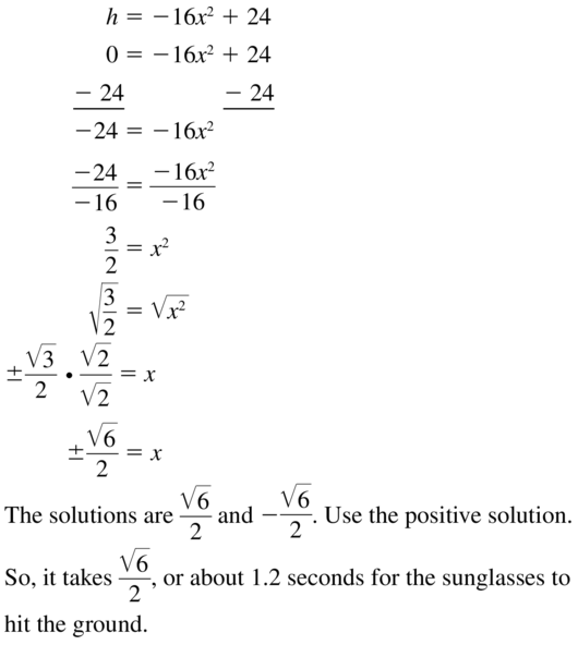 Big Ideas Math Algebra 1 Solutions Chapter 9 Solving Quadratic Equations 9.3 a 33