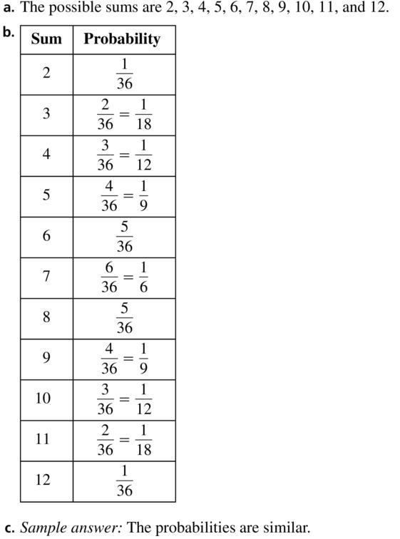 Big Ideas Math Algebra 2 Answer Key Chapter 10 Probability 10.1 a 23
