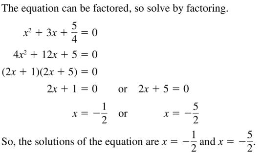 Big Ideas Math Algebra 2 Answer Key Chapter 3 Quadratic Equations and Complex Numbers 3.1 a 45