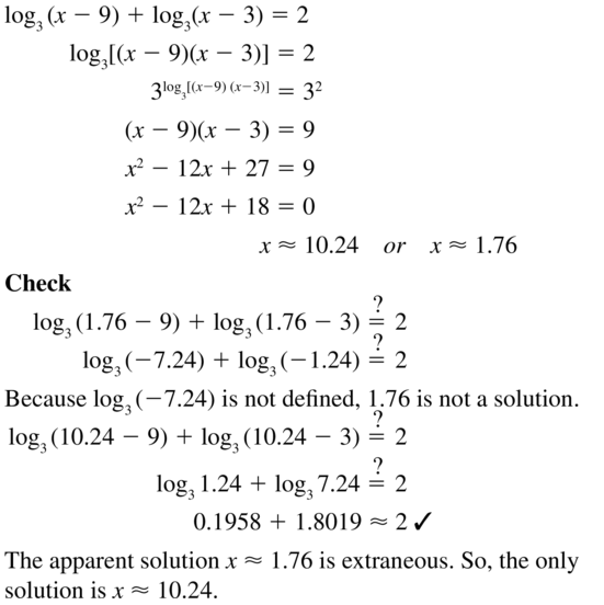 Big Ideas Math Algebra 2 Answer Key Chapter 6 Exponential and Logarithmic Functions 6.6 a 39
