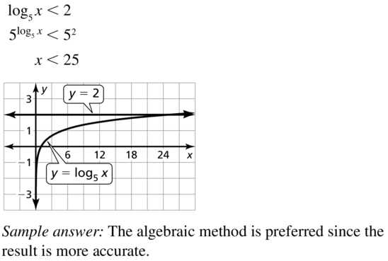 Big Ideas Math Algebra 2 Answer Key Chapter 6 Exponential and Logarithmic Functions 6.6 a 55
