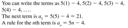 Big Ideas Math Algebra 2 Answer Key Chapter 8 Sequences and Series 8.1 a 15