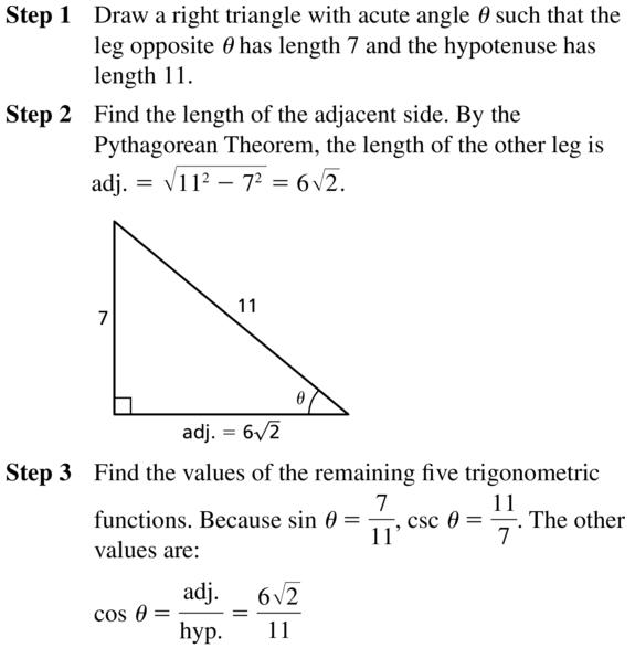 Big Ideas Math Algebra 2 Answer Key Chapter 9 Trigonometric Ratios and Functions 9.1 a 13.1