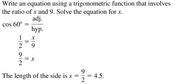 Big Ideas Math Algebra 2 Answer Key Chapter 9 Trigonometric Ratios and Functions 9.1 a 21
