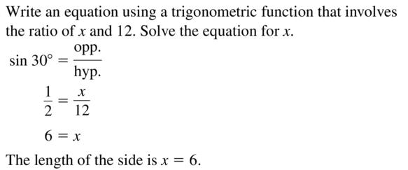 Big Ideas Math Algebra 2 Answer Key Chapter 9 Trigonometric Ratios and Functions 9.1 a 23