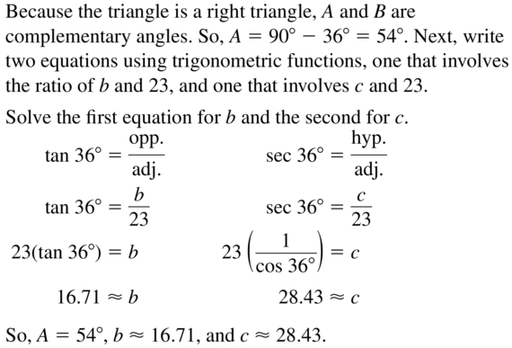 Big Ideas Math Algebra 2 Answer Key Chapter 9 Trigonometric Ratios and Functions 9.1 a 33