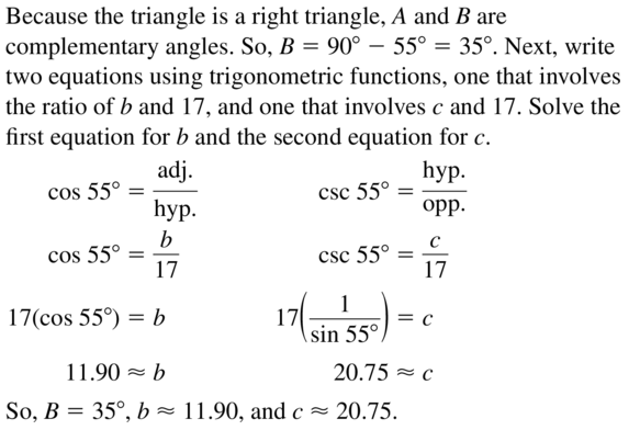 Big Ideas Math Algebra 2 Answer Key Chapter 9 Trigonometric Ratios and Functions 9.1 a 35