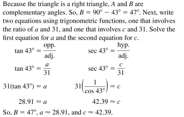 Big Ideas Math Algebra 2 Answer Key Chapter 9 Trigonometric Ratios and Functions 9.1 a 37