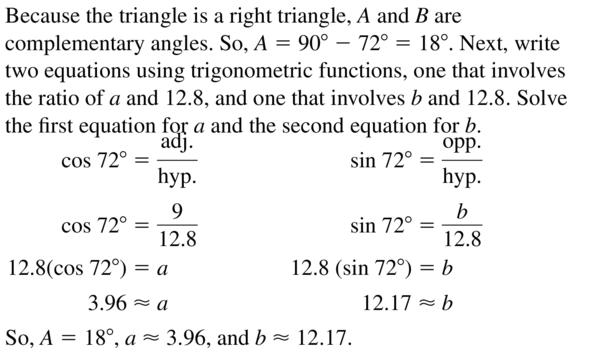 Big Ideas Math Algebra 2 Answer Key Chapter 9 Trigonometric Ratios and Functions 9.1 a 39