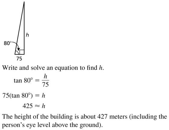 Big Ideas Math Algebra 2 Answer Key Chapter 9 Trigonometric Ratios and Functions 9.1 a 43