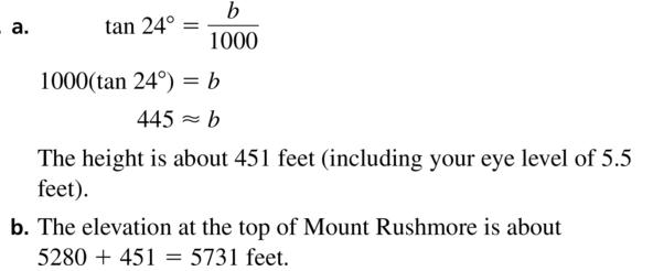 Big Ideas Math Algebra 2 Answer Key Chapter 9 Trigonometric Ratios and Functions 9.1 a 45