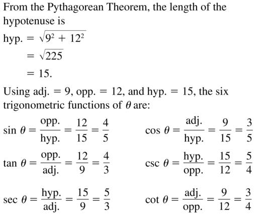 Big Ideas Math Algebra 2 Answer Key Chapter 9 Trigonometric Ratios and Functions 9.1 a 5
