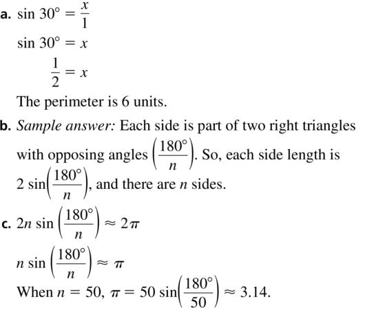 Big Ideas Math Algebra 2 Answer Key Chapter 9 Trigonometric Ratios and Functions 9.1 a 53