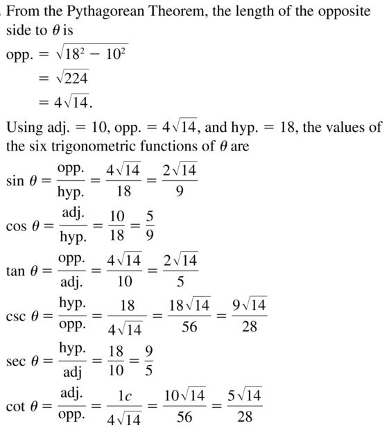 Big Ideas Math Algebra 2 Answer Key Chapter 9 Trigonometric Ratios and Functions 9.1 a 9