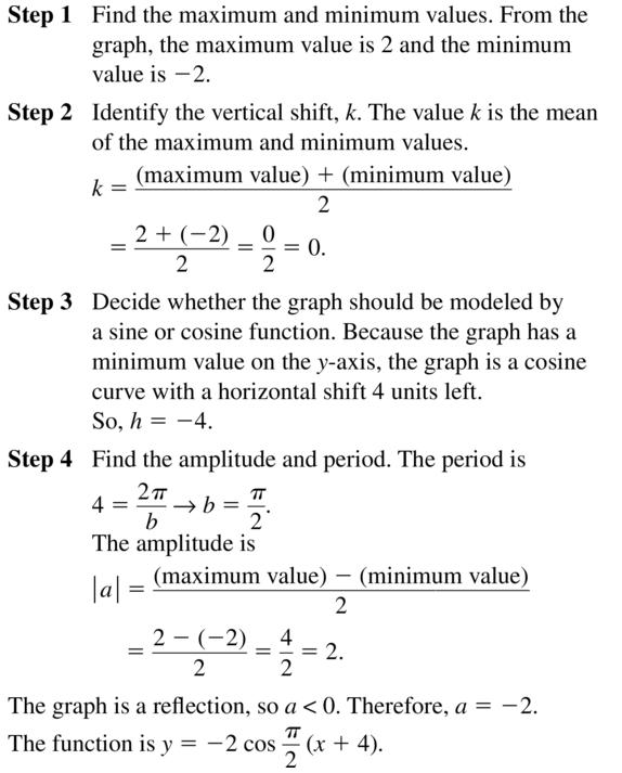 Big Ideas Math Algebra 2 Answer Key Chapter 9 Trigonometric Ratios and Functions 9.6 a 15