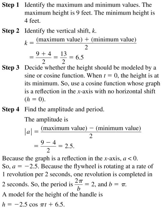 Big Ideas Math Algebra 2 Answer Key Chapter 9 Trigonometric Ratios and Functions 9.6 a 19