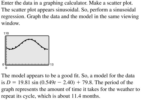 Big Ideas Math Algebra 2 Answer Key Chapter 9 Trigonometric Ratios and Functions 9.6 a 21