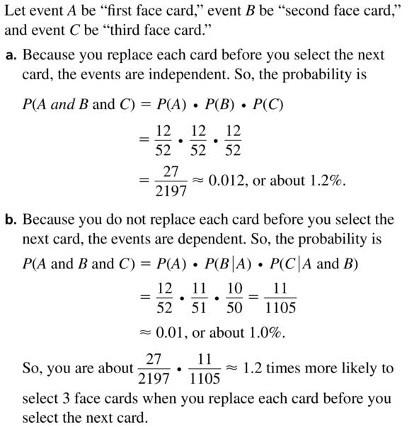 Big Ideas Math Algebra 2 Answers Chapter 10 Probability 10.2 a 19