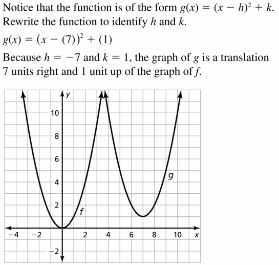 Big Ideas Math Algebra 2 Answers Chapter 2 Quadratic Functions 2.1 Question 11