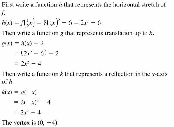 Big Ideas Math Algebra 2 Answers Chapter 2 Quadratic Functions 2.1 Question 33